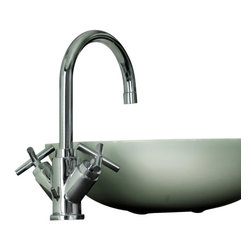 WS Bath Collections - WS Bath Collections Quattro QTV CR Bathroom Faucet in Polished Chrome - Like a coveted sports car, this Italian made, high-end bathroom faucet is built for speed, or at least a stylized wash basin experience. Angled hot and cold handles and an arcing spigot mean your water flow will cascade into your sink and you'll always look forward to your daily ablutions rituals.