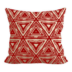 Fiber and Water - Red Aztec Pillow - A unique Aztec patterned pillow. Add a little funkiness to your sofa. This hand-printed piece of art has beautiful texture from a combination of natural burlap and water-based paints. Hand-pressed onto natural burlap using water-based inks.