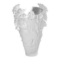 Daum Crystal - Daum Crystal Flower Magnum Vase White Grey  05106-7 - Daum Crystal Flower Magnum Vase White Grey  05106-7 * FULLY AUTHORIZED DAUM DEALER * Size: 20.8 Inches High * Limited To 50 Pieces Worldwide * Made By Hand In France * Kiln Fired For 10 Days * Every piece is unique, no two Daum crystals are exactly alike. * Since 1878 Daum Crystal has been the ultimate in luxury.