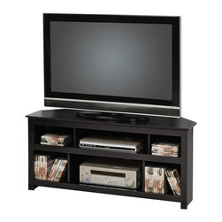 Prepac - Prepac Vasari Flat Panel Plasma / LCD Corner TV Stand in Black - Prepac - TV Stands - BCV4722 - In a rich black finish this Vasari Corner Flat Panel Plasma / LCD Television console is designed for today's flat screen televisions and A/Components. With a sleek modern design and three separate compartments to fit your other A/V components this unit is both stylish and functional. An MDF backer adds greater appeal by providing the component with ventilation and cable management for each of the three compartments. Prepac designed this console to fit nicely into the corner of your room and to accommodate a flat panel plasma / LCD television of up to 150 lbs. Some assembly is required.