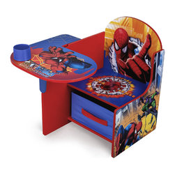 Adarn Inc - Disney Spider Man Chair Desk w/ Removable Bin Storage Toy Organizer Cup Holder - The Marvel The Amazing Spider-Man chair desk With Storage Bin is the perfect place to color, play or study. It makes a great gift. This toddler Spider-Man Chair comes with a pull-out under-seat storage bin made of fabric. This bin opens up to reveal space for art supplies, books and more. Stationary items, such as pens, pencils and crayons, can be stored in the cup holder provided.