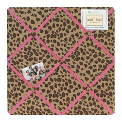 Sweet Jojo Designs - Cheetah Pink Fabric Memo Board - The Cheetah Pink Fabric Memo Board with button detail is a great way to display photos, notes, and postcards on your child's wall. Just slip your mementos behind the grosgrain ribbon to create an engaging piece of original wall art. This adorable memo board by Sweet Jojo Designs is the perfect accessory for the matching children's bedding set.