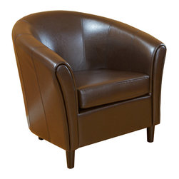 Great Deal Furniture - Newport Brown Leather Club Chair - Club chairs are an essential staple in any den, living room, or even master bedroom. They have to serve as additional seating, stylistic embellishments to any decor, and provide lasting comfort. The Newport club chair features all of this and more, making it the ideal club chair for your home. The soft edges and curvaceous form add a unique flare to this traditional piece of furniture. The modern and bold colors are neutral enough to match any preexisting style throughout your home. The smooth leather and plush cushions make this club chair the ultimate in comfort hands down.