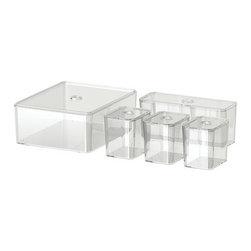 Magnus Elebäck - GODMORGON Box with lid, set of 5 - Box with lid, set of 5, clear