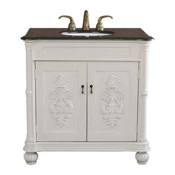 "Bellaterra - 36"" Single Sink Vanity Wood Bronze Silver, Antique White, 36 in - The beautiful hand craved single bathroom sink vanity decorated with hand painted detail medallion design on door panels that accentuate the tradition flavor. It is constructed with solid wood in antique white finish. It is carefully finish with multi-layer of top coat to ensure water proof of all surface to withstand bathroom humidity. Top with genuine marble top. Birch + plywood * Antique White * UPC white sink * Antique brass finish hardware * Faucet and mirror not included. Dimensions: 36 in. x 22 in."