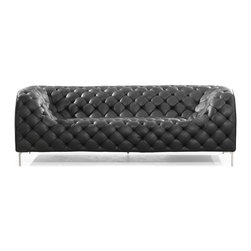 Zuo Modern - Zuo Modern Providence Modern Sofa X-472009 - Like a grand piece of art, the Providence set dramatically changes any room. The set is wrapped and tufted in a leatherette with chrome legs.