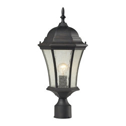 Elk Lighting - Elk Lighting Wellington Park Outdoor Post Light with Weathered Charcoal - The wellington park collection has a hexagonal shaped design with arching seedy glass panels held by a scrolled cast aluminum frame. A weathered charcoal finish enhances its stately character.
