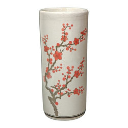 Oriental Unlimted - 18 in. High Cherry Blossom Umbrella Stand - A unique accent piece to complement any decor. A stunning porcelain umbrella stand. Flower blossom design. 17.5 in. H x 7.75 in. Dia.
