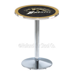 Holland Bar Stool - Holland Bar Stool L214 - Chrome Western Michigan Pub Table - L214 - Chrome Western Michigan Pub Table belongs to College Collection by Holland Bar Stool Made for the ultimate sports fan, impress your buddies with this knockout from Holland Bar Stool. This L214 Western Michigan table with round base provides a commercial quality piece to for your Man Cave. You can't find a higher quality logo table on the market. The plating grade steel used to build the frame ensures it will withstand the abuse of the rowdiest of friends for years to come. The structure is triple chrome plated to ensure a rich, sleek, long lasting finish. If you're finishing your bar or game room, do it right with a table from Holland Bar Stool. Pub Table (1)