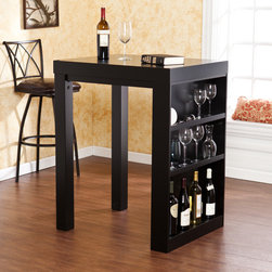 Upton Home - Upton Home Benton Black Bistro Table - Exhibit your bar ware or accents with the Benton bistro table or create a workstation,desk for your craft materials. The top two shelves have a small lip on the edge,while the bottom shelf is taller and open to accommodate bottles or other décor.