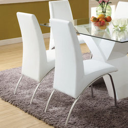 Hokku Designs - Novae Parsons Chair (Set of 2) - A unique silhouettes introduces fresh design to your dining space. This dining chair feature generously sized seat cushion and chrome-plated finish legs that is sparkling clean for a strikingly modern look. Features: -Frame material: Stainless steel.-Upholstery Materials: Leatherette.-Perfectly proportioned seat/back provide a great comfort zone.-Stainless steel squared front and curved back legs kick back in chrome-plated.-Comfort level with supportive higher back.-Felt pads recommended.-Upholstered in leatherette.-Collection: Novae.-Distressed: No.Dimensions: -Overall Product Weight: 39 lbs.