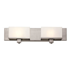 Trans Globe Lighting - Brushed Nickel New Cube 2 Light Bath Fixture with White Acrylic, Cube Glass - - Metropolitan chic cube style wall lighting adds sophisticated accent to home or office d�cor. Use in hallways or as a wall accent in bedrooms and dining areas. Suitable for damp locations.  - 2 Light Bath Bar  - Suitable for Damp locations  - Open at top and bottom adds directional light where needed  - Durable acrylic shades do not stain or fade  - Matching trim around shades adds extra shine  - Metro chic indoor bath bar collection  - Material; Metal, Acrylic  - Bulbs not included Trans Globe Lighting - 20212 BN