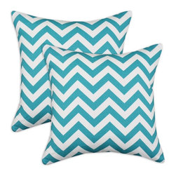 Chooty & Co. - Chooty and Co. Chevron Design True Turquoise 17 x 17 in. Decorative Throw Pillow - Shop for Pillows from Hayneedle.com! The Chooty and Co. Towers Zig Zag True Turquoise 17 x 17 in. Decorative Throw Pillow - Set of 2 won't fade into the background. These square accent pillows pop with color and give your favorite space the extra wow-factor you've been seeking. Both pillows are made with a machine-washable polyester fill and flaunt zippered cotton covers with a dynamic zig-zag turquoise pattern.About Chooty & Co.A lifelong dream of running a textile manufacturing business came to life in 2009 for Connie Garrett of Chooty & Co. This achievement was kicked off in September of '09 with the purchase of Blanket Barons well known for their imported soft as mink baby blankets and equally alluring adult coverlets. Chooty's busy manufacturing facility located in Council Bluffs Iowa utilizes a talented team to offer the blankets in many new fashion-forward patterns and solids. They've also added hundreds of Made in the USA textile products including accent pillows table linens shower curtains duvet sets window curtains and pet beds. Chooty & Co. operates on one simple principle: What is best for our customer is also best for our company.