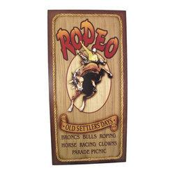 `Old Settlers Days` Western Rodeo Wall Sign - This cool Western style wall sign is a perfect accent to a home bar. The sign advertises the Old Settlers Days Rodeo`, which features broncs, bulls, roping, horse racing, clowns, a parade and a picnic. It has a rope border, and measures 23 3/4 inches by 12 inches. It hangs easily on your wall with a single nail.