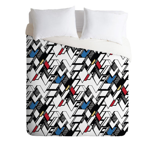 DENY Designs - Karen Harris Taliesin Multi Queen Duvet Cover - Wake up your bedroom with this action-packed, graphic style duvet cover print. Like a comic book with bold contrasts, sharp lines and 3-D shading, the geometric pattern is full of zigzag swagger, balanced by selective coloring to create a feeling of openness. Match it with a few simple, modern furniture pieces and you'll be set.