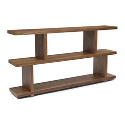 Squared Away Shelf Unit in Walnut - Storage becomes stylish with this sharp-angled shelving unit. Its walnut-finish veneer ensures that, while it stands out in styling, it won't clash with your favorite parts of the room. Use it as a showcase on all levels or fill the lower ones with the comforts of home, like cozy blankets and throws.