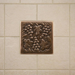 Solid Copper Wall Tile with Grape Design - Personalize your kitchen with this solid copper wall tile. It features a charming, hand-crafted grape design that nearly any gourmet will appreciate.