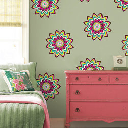 """Zsa Zsa Dots Set of Wall Decals - An explosion of pink brown teal and limon flowers with pink green and diamond gem embellishments, Zsa Zsa works great in a kid's room. This pack contains twelve 13"""" Zsa Zsa dots. WallPops are repositionable and always removable."""
