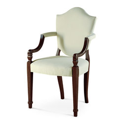 Baker Furniture - Shield Back Arm Chair - Seeking relief from the excesses of Chinese and Chippendale styling popularized in the mid-18th century, George Hepplewhite created a more simple, rational approach to furniture design. With square tapered legs and a spade foot, a shield back chair follows the tastes of Hepplewhite.