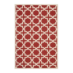 """Safavieh - Callum Hand Tufted Rug, Rust / Ivory 2'6"""" X 4' - Construction Method: Hand Tufted. Country of Origin: India. Care Instructions: Vacuum Regularly To Prevent Dust And Crumbs From Settling Into The Roots Of The Fibers. Avoid Direct And Continuous Exposure To Sunlight. Use Rug Protectors Under The Legs Of Heavy Furniture To Avoid Flattening Piles. Do Not Pull Loose Ends; Clip Them With Scissors To Remove. Turn Carpet Occasionally To Equalize Wear. Remove Spills Immediately. Ancient symbols combine to create a chic interpretation of transitional Moroccan style in the beautifully textured Sahara area rug. Hand-tufted of superior wool pile and crafted to endure, this simple but striking rug contrasts plush and pile textures for rich dimension."""