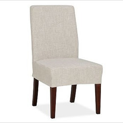 Napa Side Chair Slipcover, Short-Length Grainsack Flax - Offering the utmost in comfort and versatility, our Napa Chair has a deeply cushioned seat that's covered with oat cotton-twill fabric and stands on espresso-stained legs. Machine-washable slipcovers are available for an easy style update. Sturdily crafted with a hardwood frame, legs and backrest. Each slipcover is tailored specifically for our Napa Chair, so the look is tailored and the fit is perfect every time. Chairs and slipcovers are sold separately; choose from a variety of options below. Monogramming is available at an additional charge. Monogram will be centered on the backrest section of the slipcover. Select items are Catalog / Internet Only. View our {{link path='pages/popups/fb-dining.html' class='popup' width='480' height='300'}}Furniture Brochure{{/link}}.
