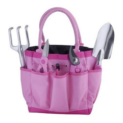 Bond Garden Tool Bag Gift Set - Green thumb, meet pink bag! The Bond Garden Tool Bag Gift Set is a great way to carry all of your yard work accessories in a fashionable way. This pink bag features comfortable shoulder straps and multiple pouches that come stocked with must-have tools. Included with your attractive bag is a pair of stainless steel pruning shears, comfort grip bypass pruner, and ergonomic grip cast aluminum trowel and cultivator. Measures 15.36L x 10.16W x 2.37H inches.About BondBond Manufacturing began operations over 50 years ago and transformed over the years into a leader within the outdoor consumer products category. Through constant improvement of its products, Bond is committed to bringing you the very best in quality, service, value, and innovation.
