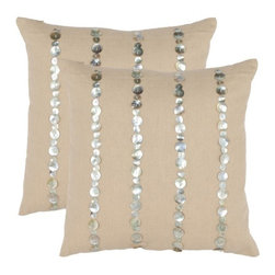 "Safavieh - Zayden 18"" Decorative Pillows (Set of 2) - Traditional with a twist, this striped accent pillow from Safavieh is the perfect way to add personality to your favorite chair or sofa. Full of eye-catching charm, this piece will infuse your décor with classic style for years to come. Features: -Color: Almond. -Material: 30% Linen / 70% Cotton. -Classic style."