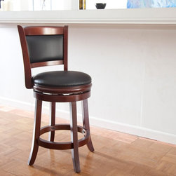 Boraam Industries LLC - Boraam Augusta 24 in. Swivel Counter Stool - 49824 - Shop for Stools from Hayneedle.com! The Boraam 24 in. Augusta Swivel Counter Stool features a clean comfortable design making it ideal for any home. The large footrest in the front and the stretchers connect the legs to keep the stool stable. The padded swivel seat and back provide comfort while the solid hardwood frame ensures durability. Seat and back are upholstered with PVC a faux leather material. Choose from several wood finishes to complement your decor. Dimensions: 18W x 22D x 37.5H inches counter seat height: 24 inches. Please note: This item is not intended for commercial use. Warranty applies to residential use only. About Boraam IndustriesWith the mission to provide well-styled quality home furnishings and furniture at popular price points to multiple tiers of markets Boraam Industries was established in 2001 in Mundelein Ill. Boraam Industries has its own tropical hardwood production facility based in Malaysia providing an exotic selection to suit all types of decor needs.