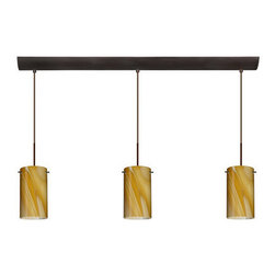 Besa Lighting - Besa Lighting 3BV-4404HN-MED Stilo 3 Light Linear Pendant - Stilo 7 is a classic open-ended cylinder of handcrafted glass, a shape that will stand the test of time. This unique decor is handcrafted, with layered swirls of yellow-amber and golden-brown against white, finished to a high gloss. It's classic swirl pattern and high gloss surface has a truly florid gleam. Honey is a hand-blown glass designed to have a shiny and polished finish. The glass is gathered and rolled into shape a unique pattern is formed that cannot be replicated. This blown glass is handcrafted by a skilled artisan, utilizing century-old techniques passed down from generation to generation. Each piece of this decor has its own unique artistic nature that can be individually appreciated. The cord pendant fixture is equipped with three (3) 10' SVT cordsets and a 3-light bar canopy.Features: