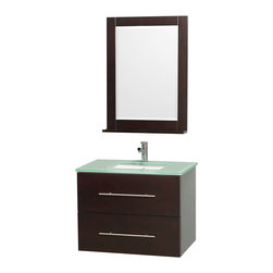Wyndham Collection - Contemporary Bathroom Vanity Set - Includes one square porcelain undermount sink and matching mirror with shelf. Faucet not included. One functional door and drawer. Plenty of storage and counter space. Single faucet hole mount. Green glass top. Engineered to prevent warping and last a lifetime. 12 stage wood preparation, sanding, painting and finishing process. Highly water resistant low V.O.C. sealed finish. Unique and striking contemporary design. Modern wall mount design. Deep doweled drawers. Fully extending under mount soft close drawer slides. Concealed soft close door hinges. Made from solid oak hardwood. Espresso and brushed chrome exterior hardware finish. Vanity: 30 in. W x 20.5 in. D x 22.75 in. H. Mirror: 24 in. W x 32 in. H. Care Instruction. Assembly instructions - Vanity. Assembly instructions - Counter Top. Assembly instructions - Undermount Sink. Assembly instructions - MirrorSimplicity and elegance combine in the perfect lines of the Centra vanity by the (No Suggestions) Collection. If cutting edge contemporary design is your style then the Centra vanity is for you modern, chic and built to last a lifetime. You'll never hear a noisy door again! The attention to detail on this beautiful vanity is second to none.