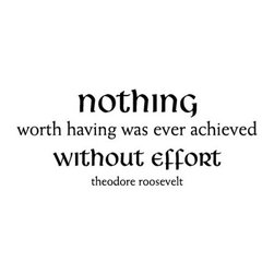 WallQuotes.com - Nothing Without Effort Wall Quotes Decal White - Size - 11 inches tall by 27.5 inches wide