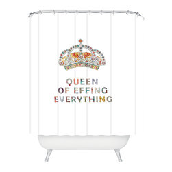 DENY Designs - Bianca Green Her Daily Motivation Shower Curtain - Who says bathrooms can't be fun? To get the most bang for your buck, start with an artistic, inventive shower curtain. We've got endless options that will really make your bathroom pop. Heck, your guests may start spending a little extra time in there because of it!