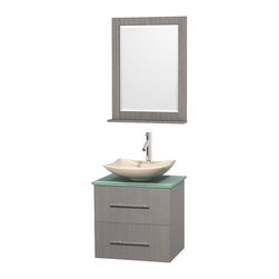 Wyndham Collection - 24 in. Single Bathroom Vanity in Gray Oak, Green Glass Countertop, Arista Ivory - Simplicity and elegance combine in the perfect lines of the Centra vanity by the Wyndham Collection . If cutting-edge contemporary design is your style then the Centra vanity is for you - modern, chic and built to last a lifetime. Available with green glass, pure white man-made stone, ivory marble or white carrera marble counters, with stunning vessel or undermount sink(s) and matching mirror(s). Featuring soft close door hinges, drawer glides, and meticulously finished with brushed chrome hardware. The attention to detail on this beautiful vanity is second to none.