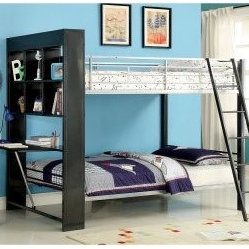 Emerson Bookcase and Folding Desk Twin over Twin Bunk Bed