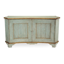Gardener Buffet - The Gardener Buffet brings the casual country aesthetic of an Avignon carriage house to your decor. The concave sideboard is finished in a soft French blue complemented with aged gilded accents that suggest the gentle passage of time. The grooved ends give the appearance of a coopered construction. Generously sized for the containment of antique books, heirloom linens, or delicate dishware.