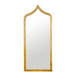 """Worlds Away - Worlds Away Adina Gold Leafed Extra Long Mirror - With a hint of Moroccan influence, the Worlds Away Adina mirror exudes global flair. The extra-long accessory's sleek frame tapers at the top, glistening in a captivating gold finish. 24""""W x 1""""D x 55""""H; Gold leaf finish; Iron edged; Sawtooth hanger"""