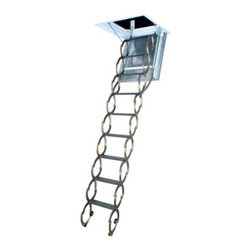Fakro 9.10 ft. Fire Rated Steel Scissor Attic Ladder - Protect your home and make your climb to the loft a safe one with the attractive Fakro 9.10 ft. Fire Rated Steel Scissor Attic Ladder. The reliable metal construction of this ladder provides long-lasting performance and a 300 lb. load capacity so you can carry heavy items to and from the attic without a care in the world. And for even better stability the feet of the ladder have been fitted with non-slip treads so your walkway won't budge. While the 9 step access is solid steel the wooden door is fully insulated and fire proofed wood that can withstand flame for up to 60 minutes! Available in 2 sizes: 47L x 22W and 47L x 25W inches both of which can also be folded to smaller lengths to allow smaller loft hatch size. ANSI certified. About Fakro A privately owned company established in Poland in 1991 FAKRO has grown into one of the most dynamic and fastest growing companies in the world with over a 15% share of the global market and 3 300 employees. Their extensive research and development center produces a wide variety of roof windows with unique design and functionality accessories and the very latest in solar collectors. Their emphasis on health safety security and environmental impact is unmatched. For an expansive range of top-of-the-line products for all imaginable applications look to FAKRO.