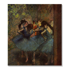 Gallery Direct - 'Ballet Dancers in Blue' Print on Wood by Edgar Degas - Own this classic print on wood. Portions of this print that are light in color will have birch wood grain showing through, creating a unique effect.