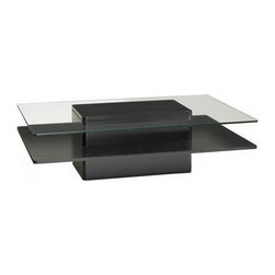 Jesper Office Furniture - 2000 Series Rectangle Wood/ Glass Coffee Table in Espresso - Features: