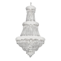 "The Gallery - EMPIRE CHANDELIER LIGHTING W/ SWAROVSKI CRYSTAL! 30""x50"" - FRENCH EMPIRE CHANDELIER DRESSED WITH SWAROVSKI CRYSTAL. Dressed with SWAROVSKI CRYSTAL, this chandelier is characteristic of the grand chandeliers which decorated the finest Chateaux and Palaces across Europe and reflects a time of class and elegance which is sure to lend a special atmosphere in every home!Assembly Required. SIZE WD 30"" HT 50"" 21 LIGHTS SHIPPING $100.00"