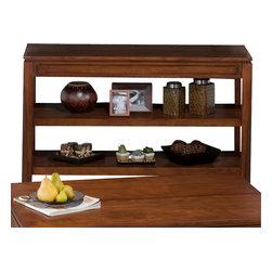 Jofran - Jofran Bowie Sofa/ Media Unit with 2 Shelves in Merlot - Solid Asian hardwood and Birch veneer. Hidden storage in Cocktail table.