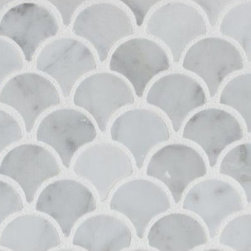 Mission Stone Tile - Curve Appeal Mini- Carrara Fan Shaped Mosaic Tiles, 1 Square Ft. - Curve Appeal Fan Shaped Mosaic Tiles- Mini