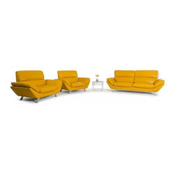 Colorful Sofas - Modern Yellow Italian Leather Sofa Set