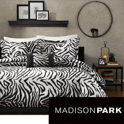 Madison Park - Madison Park Mali 4-Piece Duvet Cover Set - This zebra duvet cover set is the ideal bedding set for any animal print enthusiast. The print offers an eye-catching look that is both bold and unique, and the set comes with everything you need to create a finished, professional look.