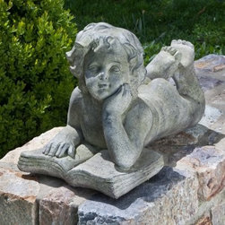 Alfresco Home Cherub Reading Book Garden Statue - As adorable as it is attractive, the Alfresco Home Cherub Reading Book Garden Statue is just what you need to add warmth and inviting touch to your outdoor setting. Made of durable, lightweight Fiberstone™ blend, a combination of fiberglass and stone fibers, this statue boasts a fine texture and a distressed, rich Aged Stone patina finish that will not fade in the sun or warp, crack, or split under harsh climatic conditions. Whether you place it near the flower bed or by the garden bench, this beautiful statue of a reading cherub is sure to add a welcoming feel to your home.About Alfresco HomeOffering a wide selection of fashionable products, from casual furniture and garden lighting to permanent botanicals and seasonal decor, Alfresco Home casual living products offer a complete line of interior and exterior living furnishings and accents. Based out of King of Prussia, Penn., Alfresco Home continues to blend indoor and outdoor furniture to create a lifestyle of alfresco living inside and outside of the home. Inlaid mosaic tabletops, fine hardwood furnishings, artisan-inspired accents, premium silk botanicals, and all-weather wicker sets are just a few examples of the kind of treasures you'll find in Alfresco's specially designed collections.Please note this product does not ship to Pennsylvania.
