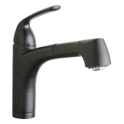 Elkay - Single Lever Pull-Out Bar Faucet ORB - Product height: 18.5. Product min width: 9. Product depth: 2.7single lever pull-out prep/bar faucet orbelevate the culinary experience with the professional grade gourmet collection. Meticulous attention to form and function creates a new standard for the connoisseur. Gourmet pull-out bar / prep faucet deck mount pull-out spray