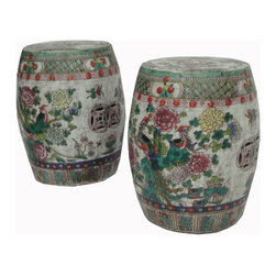 Golden Lotus - Unique Pair Chinese Antique Hand Painting Round Porcelain Garden Stool Stand - This is a pair of round Chinese antique garden stool which is made of porcelain. It is different with other kind of stool at the market. It comes with 100% hand painting which represents flower and birds. It is a gorgeous piece to decorate your living room or garden.