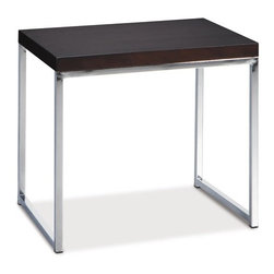 """Ave Six - End Table - Finish off your room with an elegant finishing touch from this Wall StreetEnd Table. The Wall Street Collection by Avenue Six brings us a selection of items that can be chosen to customize your current room setup and fit your needs. With its elegant chrome steel base and sturdy build, this piece is capable of adding style and value to any home setup. The balance between elegance and price make this item a great value to any furniture seeker Features: -Tabletop crafted of wood veneer over a MDF top.-Stylish chrome legs made to match the most elegant of room setups.-Frame constructed of sturdy chrome steel built for durability and style.-Wall Street collection.-Browse additional pieces in the Wall Street Collection for a complete set.-Distressed: No.Dimensions: -Overall Product Weight: 25 lbs.-Overall Height - Top to Bottom: 18.5"""".-Overall Width - Side to Side: 16"""".-Overall Depth - Front to Back: 22""""."""
