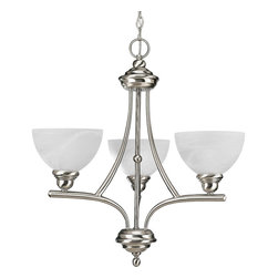 Progress Lighting - Progress Lighting P4082-09 Glendale Brushed Nickel 3 Light Chandelier - Progress Lighting P4082-09 Glendale Brushed Nickel 3 Light Chandelier