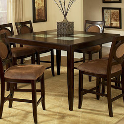 """Steve Silver Furniture - Steve Silver Montblanc Counter Height Table w/ Leaf - With its simplistic features the Montblanc Counter Height Dining Table with 18 Inch with Extension Leaf brings style and sophistication to your entertaining area. The counter height dining table is offered in a multi-step merlot finish and has 4 table-top insets featuring our signature crackled glass. - MB5454PT.  Product features: Corner Block Construction on Chairs and Table; Tongue and Groove Joints; Table extends to 54"""" with 18"""" leaf; Signature cracked glass insert; Multi-Step Merlot Finish; Contemporary Style; Made in Vietnam. Product includes: Counter Height Table (1). Montblanc Counter Height Table belongs to Montblanc Collection by Steve Silver."""